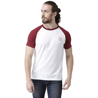 GRIFFEL Men's Basic Solid Half Sleeve Tee'sWhite