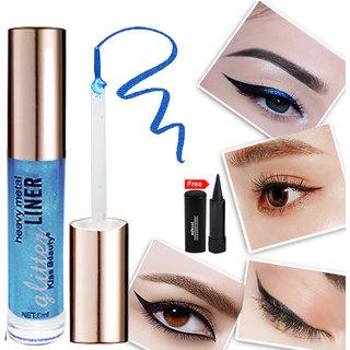 Kiss Beauty Glitter Blue Eyeliner Long Lasting 57210-12 With Free Adbeni Kajal Worth Rs.125/