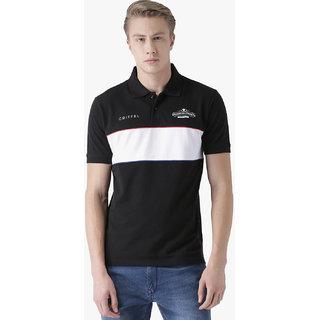Griffel Men's Basic Solid Black Polo T-Shirt