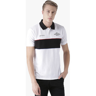 Griffel Men's Basic Solid White Polo T-Shirt