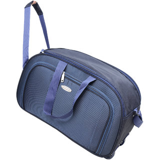 Travel Soft Case Luggage Bag Blue Duffel Bag For Holiday 2 Wheels Traveling Bag 22 INCH (116)
