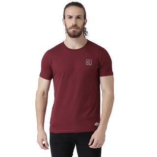 GRIFFEL Men's Basic Solid Half Sleeve Tee'sMaroon