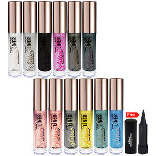 Kiss Beauty Glitter Eyeliner Long Lasting Pack of 12 With Free Adbeni Kajal Worth Rs.125/