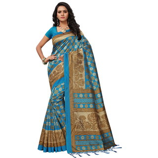 Fabwomen Sarees Floral Print Beige And Sky Blue  Coloured Mysore Silk with tessals Fashion Party Wear Women's Saree/Sari With Blouse Piece.