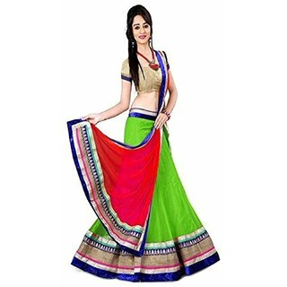 Payal Fashion Semi Stitched Womens Lehenga choli in Net Fabric (Green)