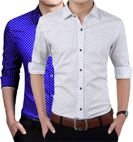 US Pepper White  Royal Dotted Shirts (Pack of 2)