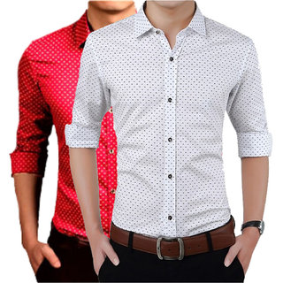 US Pepper Red  White Dotted Shirts (Pack of 2)