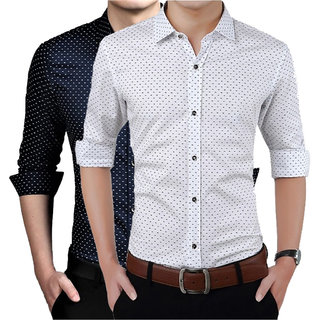 US Pepper Men's Navy &  White Regular Fit Casual Shirts (Pack of 2)
