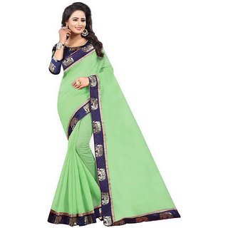 The Shopoholic Pista Chanderi Silk Sarees For Women With Blouse