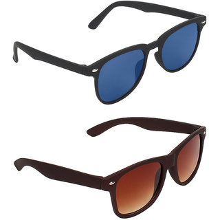 Zyaden Blue Rectangular UV Protection Unisex Sunglasses Combo