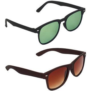 Zyaden Green Rectangular UV Protection Unisex Sunglasses Combo