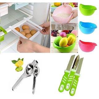 Multipurpose Fridge Tray, Rice Wash Colander Cum Fruit Vegetable Basket, Lemon Squeezer and 2 Knifes with 1 Peeler