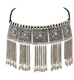 sparkle  Jewellery Oxidised Silver-Plated Floral Stone-Studded Afghani Necklace