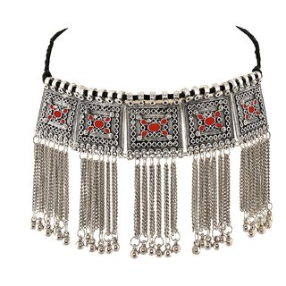 Sparkle Oxidised Silver Plated Floral Stone Studded Afghani Necklace