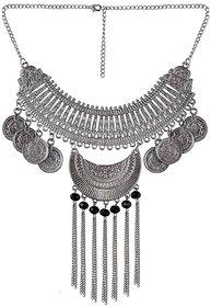 sparkle Afghani Designer Turkish Style Vintage Oxidised German Silver Tribal Jhumki Necklace Pandeant Antique