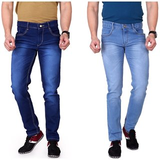 Ragzo Men's Stretchable Pack of 2  Slim Fit Multicolor Jeans