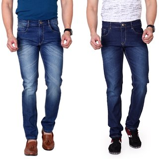 Ragzo Mens Multicolor Slim Fit Stretchable Jeans (Pack of 2)