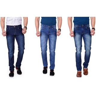 Ragzo Mens Multicolor Slim Fit Stretchable Jeans (Pack of 3)