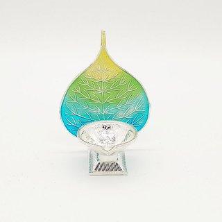 Maa Silver Diya/Lamp/Deepak/Deep with Silver Blue Green Peepal Leaf Back Perfect for Gift and Pooja Purpose