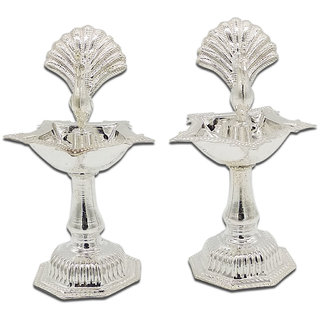 Maa Silver Set of 2 Diya/Lamp/Deepak/Deep with a Silver Peacock Idol in Middle Perfect for Gift and Pooja Purpose