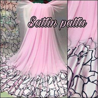 Designer Pink Georgette Saree Satin Border Party Wear Saree-DG01