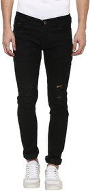 Urbano Fashion Men's Distressed Slim Fit Black Jeans