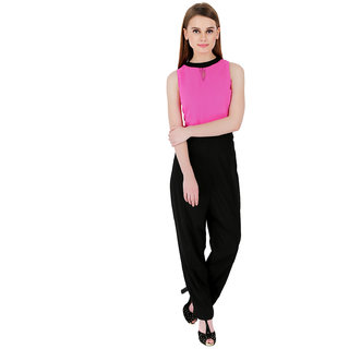ELYWOMEN Pink and Black Crepe Net Yoke Sleeveless Jumpsuit