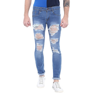 Urbano Fashion Men's Heavy Distressed/Ripped Light Blue Slim Fit Stretch Jeans