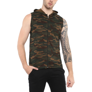 Urbano Fashion Men's Green Military/Camouflage Printed Sleeveless Zippered Hooded T-Shirt