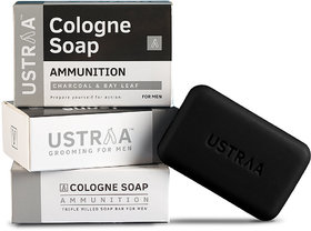 Ustraa Ammunition Cologne Soap with Charcoal  Bay Leaf, 125 gm (Pack of 3)