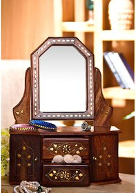 Desi Karigar Wooden Small Dressing Mirror Frame Wooden Dressing Table Saving Mirror Frame Home Decorative And Gifting It
