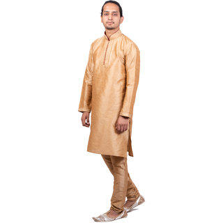 adb0f72f6a Buy Dulhaghar Men s dupion silk Kurta Pyjama set light golden Size ...