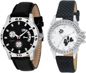 Kajaru Black Belt Attractive Couple Watch For Men And Women
