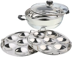 Pristine Stainless Steel Induction Compatible Multi Purpose Kadai with Glass Lid and 2 Idli Plates