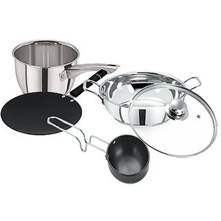 Pristine Stainless Steel Induction Base  Hard Anodised Cook  Serve Cookware Set, 5 PCS