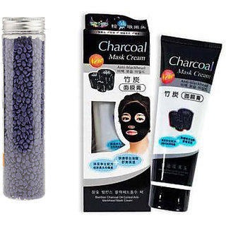 Lavender HAIR REMOVAL HARD WAX FOR ALL PURPOSE 400GM WITH 1 CHARCOAL FACE MASK