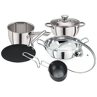 Pristine Stainless Steel Induction Base  Hard Anodised Cook  Serve Cookware Set, 7 PCS