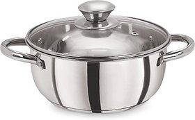 Pristine Tri Ply Induction Compatible Stainless Steel Sandwich Base Casserole With Glass Lid, 20 cm / 3.18 LTRS