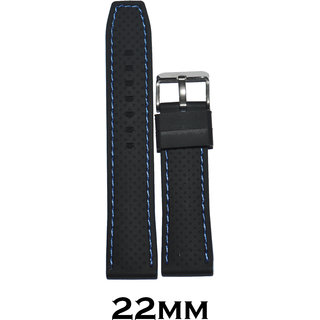 Kolet 22mm Dotted Blue Stitched Silicone Watch Strap (Black)