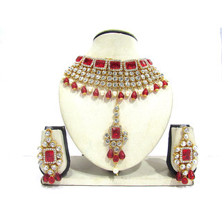 Red and White Drop Wedding Necklace Set