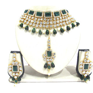 Green and White Drop Wedding Necklace Set