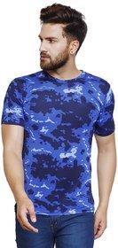Trendy Trotters Men's DrySlim Fit Cotton Round Neck Floral Print Blue Tshirt Size M