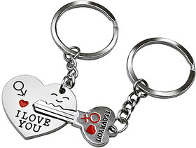 Futaba Silver Key To My Heart Keyring  Keychain(Set Of 2)