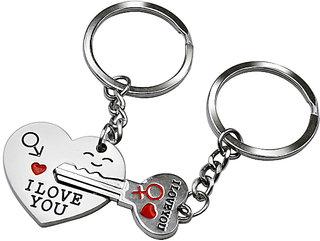 Futaba Silver Key To My Heart Keyring  Keychain(Set Of 2)