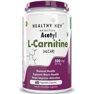 HealthyHey Nutrition Acetyl L-Carnitine (ALCAR) 500 mg - 60 Veg Capsules