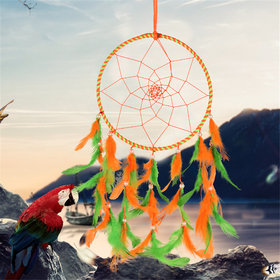 ILU Dream Catcher Wall Hanging Handmade Beaded Circular Net with Feather Decoration Ornaments Size 17cm DiameterOrange  Green