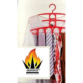 CrownLit 4 in 1 Multi Utility 3 Layer Hanger with 8 Ring Slot