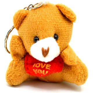 Faynci I Love You Multicolor Cute Teddy Bear Key Chain for Friendship and valentine day Gift