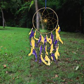 ILU Dream Catcher Wall Hanging Handmade Beaded Circular Net with Feather Decoration Ornaments Size 17cm Diameter Blue  Yellow