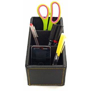 Crownlit Leather Desk Organizer, 3 Compartment